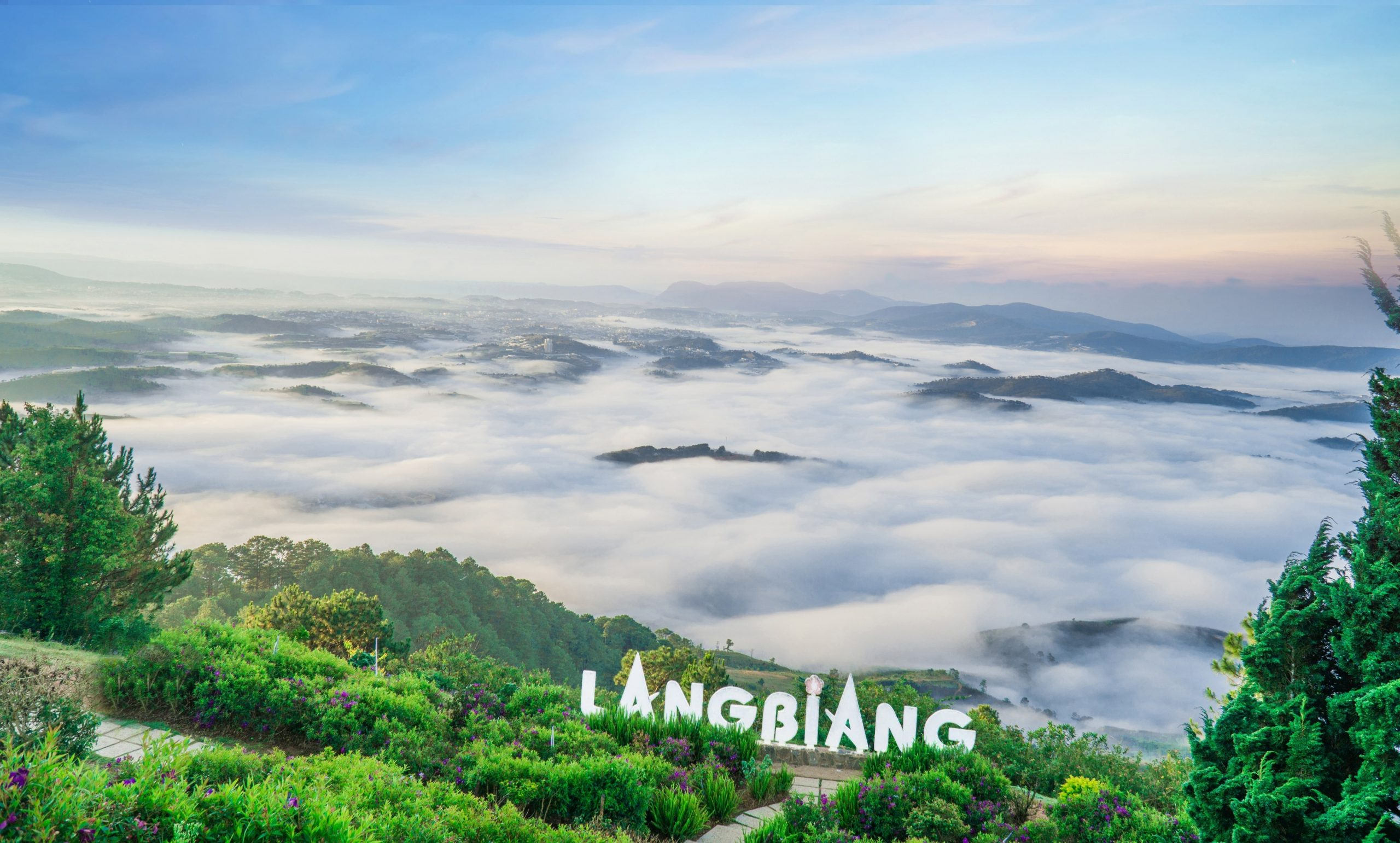 Đỉnh núi Langbiang với sương mù che phủ sáng sớm.