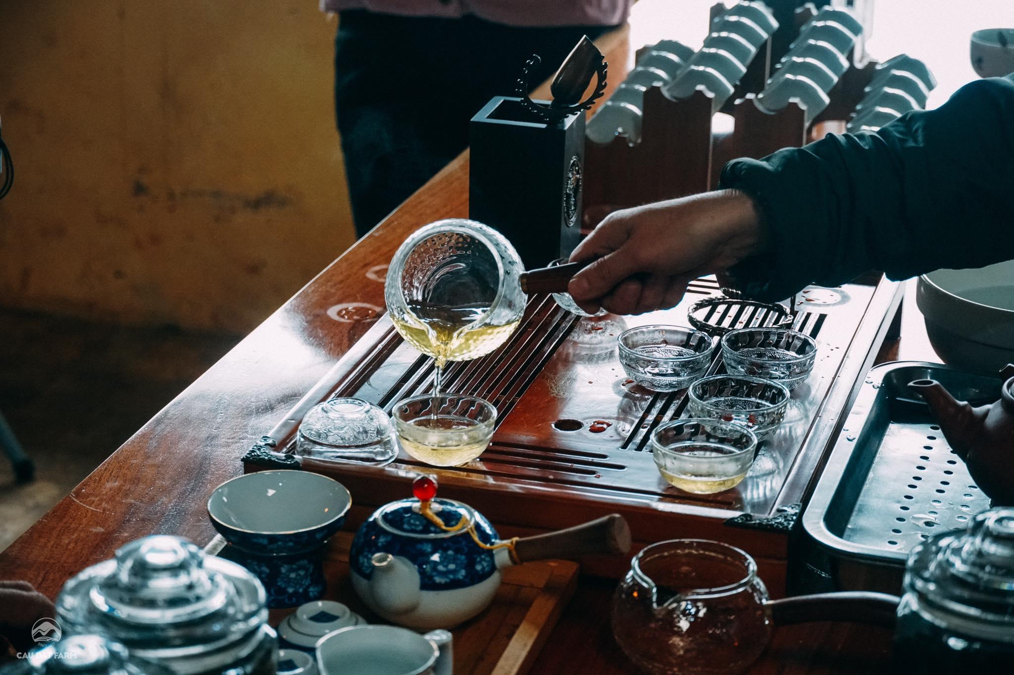 Bạn có thể thưởng thức những ly trà vị thanh tao, thơm ngon tại nhà máy chè Cầu Đất.