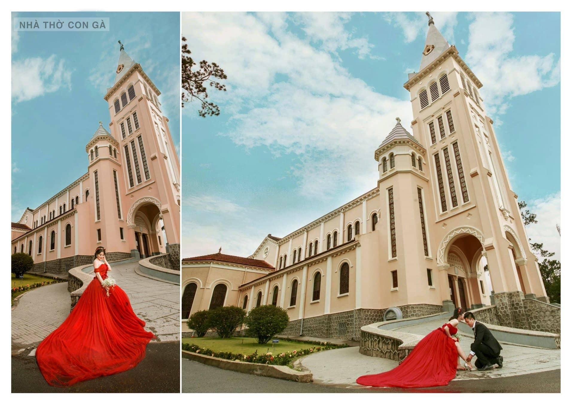 Nhà thờ Chánh Tòa Đà Lạt còn là điểm đến hấp dẫn cho các cặp đôi chụp hình cưới.