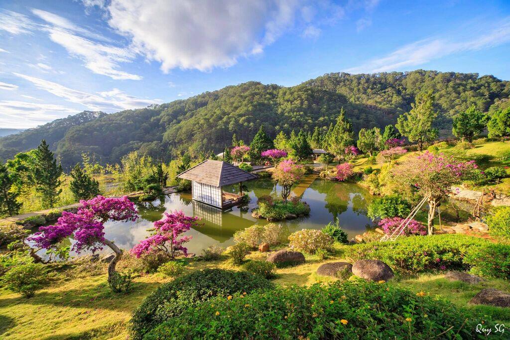 Khung cảnh nên thơ hữu tình tại Quê garden Đà Lạt.