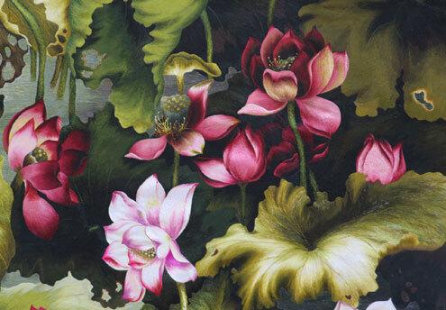 Chủ đề hoa sen - Quốc hoa Việt Nam là một trong những chủ đề thêu chính tại XQ Đà Lạt.