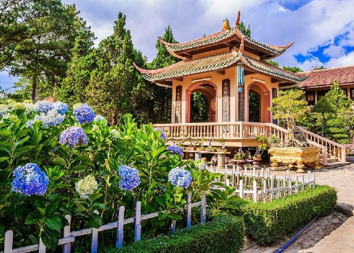 Lầu trống tại thiền viện Trúc Lâm Đà Lạt và 1 góc vườn hoa cẩm tú cầu khoe sắc.