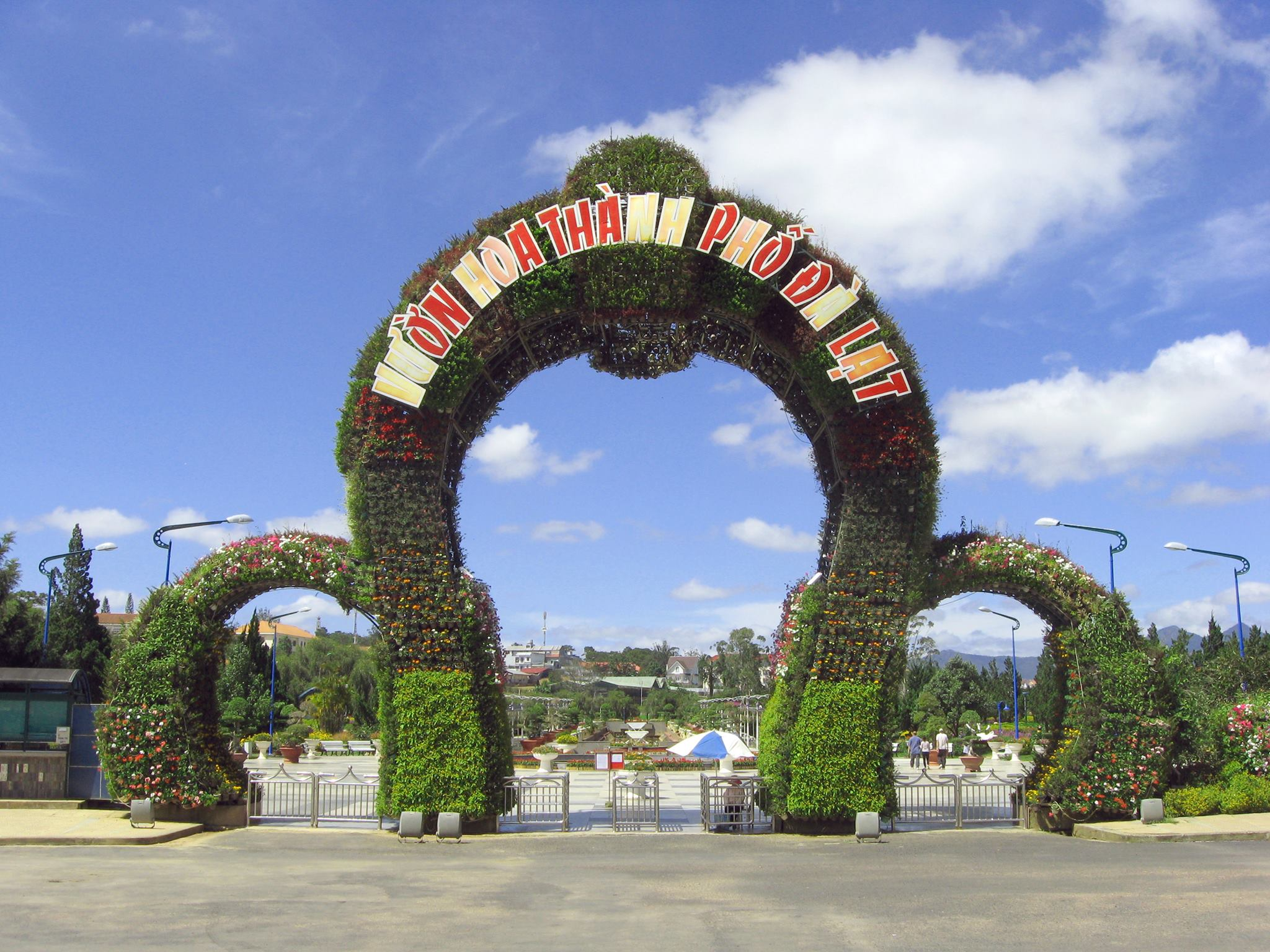 Cổng vào Vườn hoa thành phố Đà Lạt.